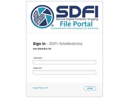 SDFI-Telemedicine secure File Portal allows you to digitally send forensic data to anyone in the world.